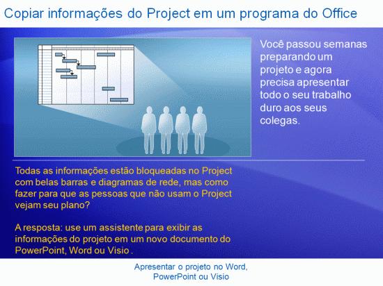 Apresentação de treinamento: Project 2007 — Apresentar seu projeto no Word, PowerPoint ou Visio