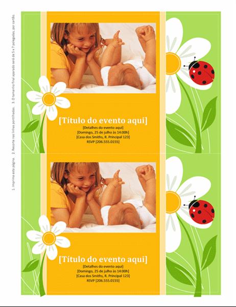 Convites com espaço para foto (design de joaninha)