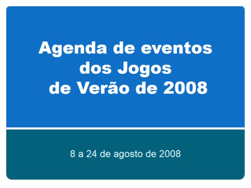Agenda de eventos dos Jogos Olímpicos de Verão de Pequim 2008