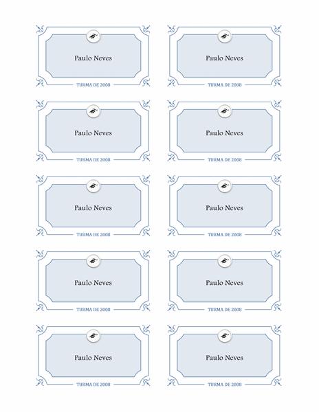 Cartões de nome de graduação (design formal)