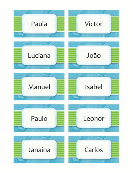 Cartões de nome ou local (design de nuvens, 10/pg)