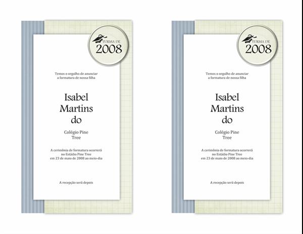 Anúncio de formatura (design Texturas)