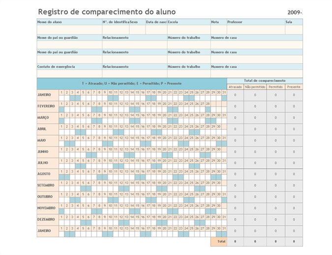 Registro de comparecimento do aluno 2009-2010