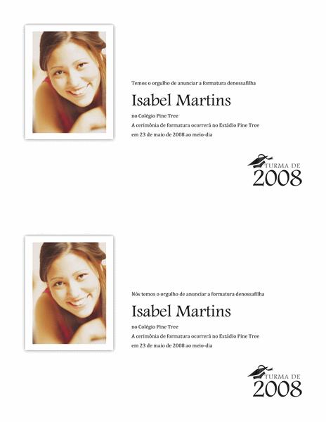 Anúncio de formatura com foto (meia página)