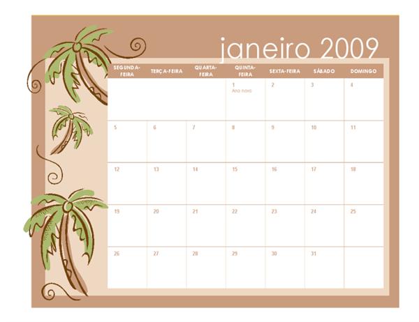 Calendário acadêmico de 2009 (temas mensais, 12 págs., seg-dom, jan-dez)