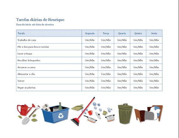 Lista de verificação para as tarefas de casa de uma criança