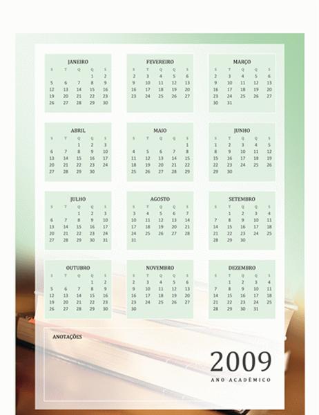 Calendário acadêmico de 2009 (1 pág., seg-sex)