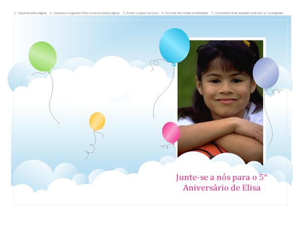 Convite fotográfico para festa (design de balões, dobrado ao meio)