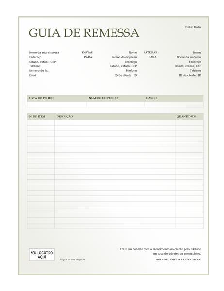 Guia de remessa (design Gradiente Verde)