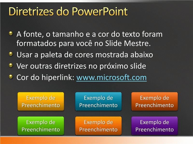 Amostra de slides de apresentação (Design cinza acetinado com faixa laranja)