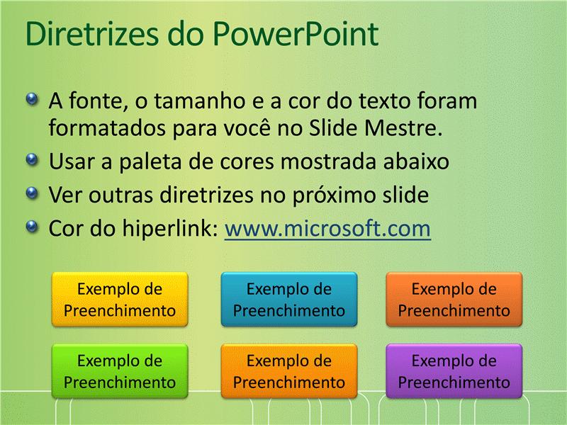 Amostra de slides de apresentação (Design verde com faixa de linhas finas e curvas)