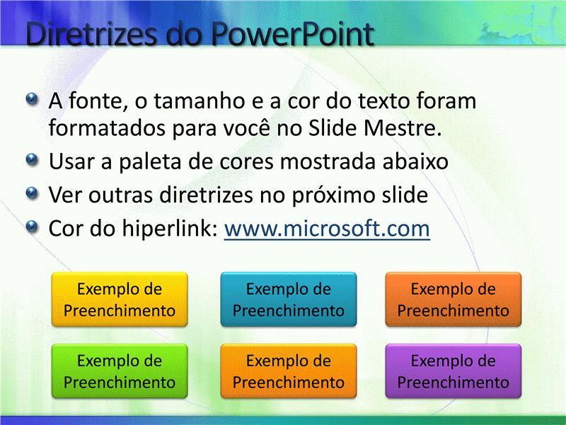 Amostra de slides de apresentação (Design branco com azul e verde)
