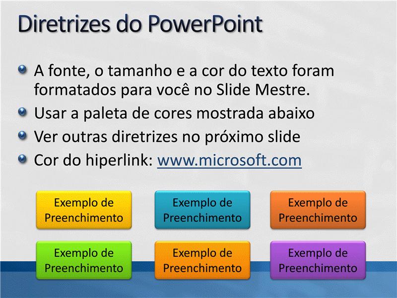 Amostra de slides de apresentação (Design cinza-claro com barra azul)