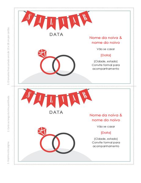 Cartão com data de casamento