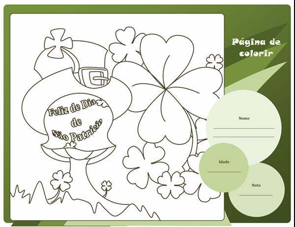 Folha de colorir do Dia de São Patrício (Design de trevo)