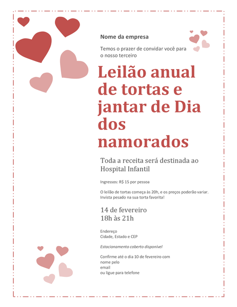 Convite para o leilão de tortas do Dia dos Namorados