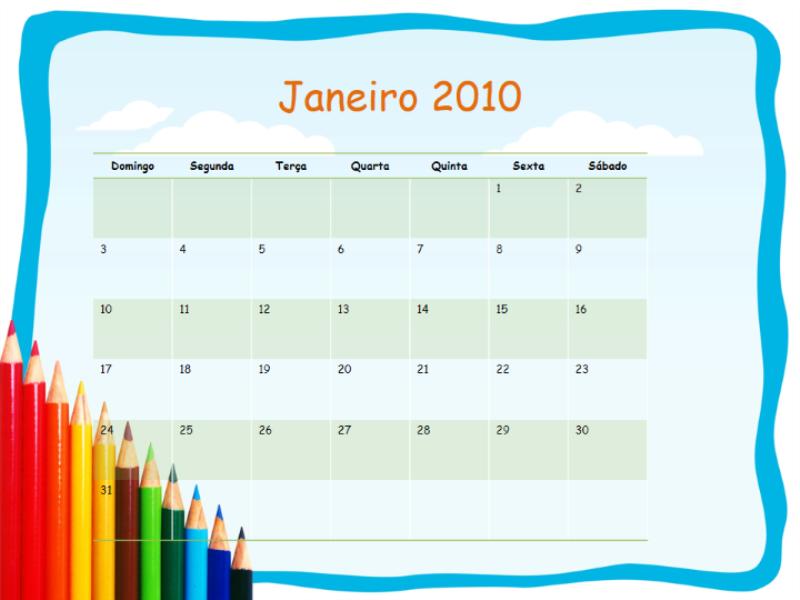 Calendário acadêmico de 2009-2010 (segunda a domingo, agosto a agosto)