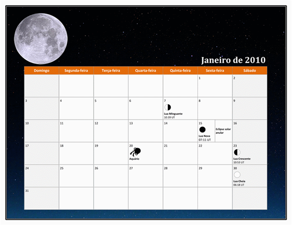 Calendário lunar de 2010 (horário universal)