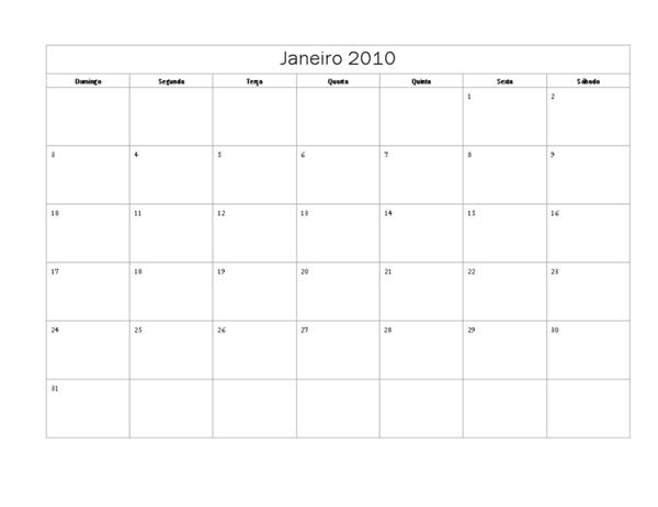 Calendário de 2010 (design Básico, Seg-Dom)