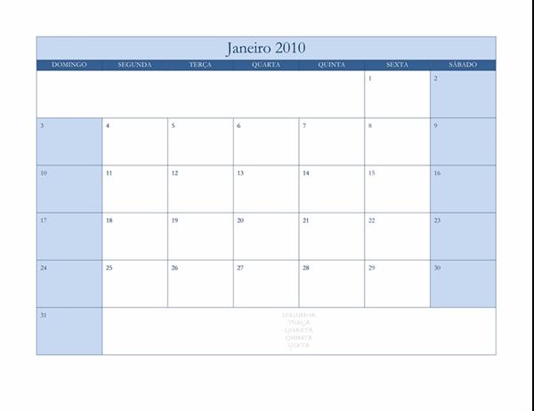 Calendário de 2010 (design Clássico Azul, Seg-Dom)