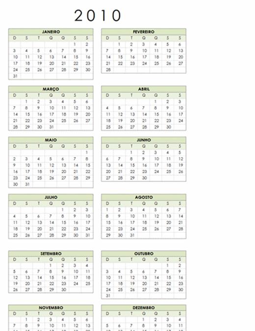 Calendário de 2010 (1 pág., retrato, Seg-Dom)