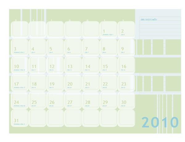 Calendário juliano de 2010 (segunda a domingo)