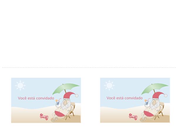 Convite para festa (design Summer Santa)