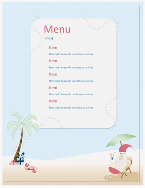 Party menu (Summer Santa design)