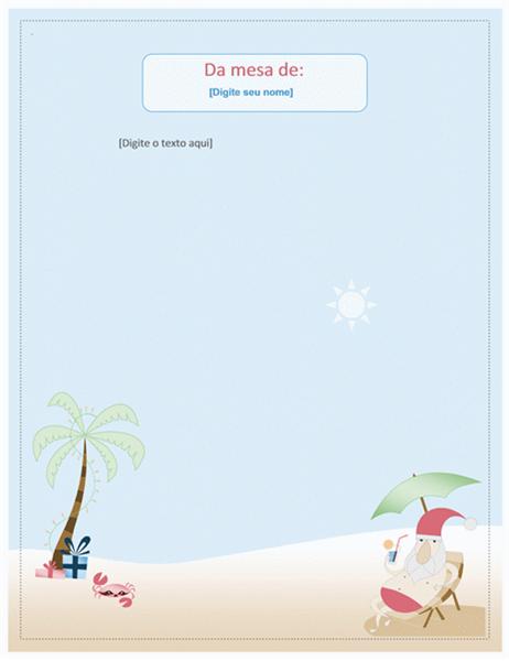 Papel de carta (design de Papai Noel no verão)