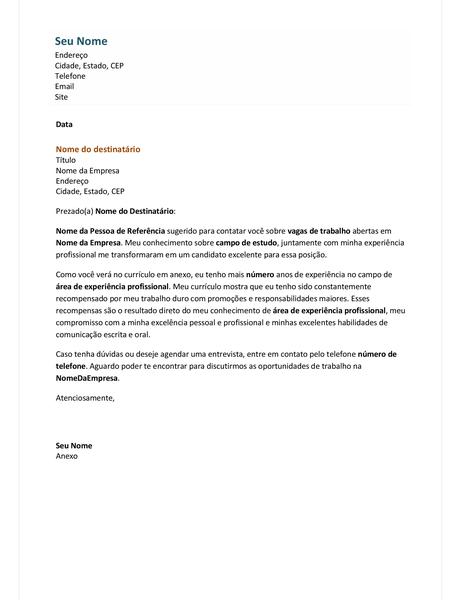 Carta de apresentação de currículo funcional