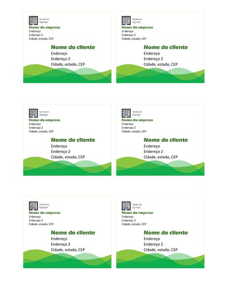 Etiquetas de remessa (design de Onda Verde, seis por página)