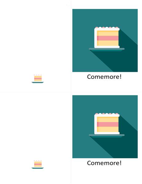 Cartão com bolo de comemoração