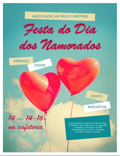 Panfleto de Dia dos Namorados com balões em forma de corações