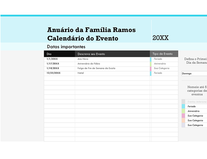 Calendário de eventos em família