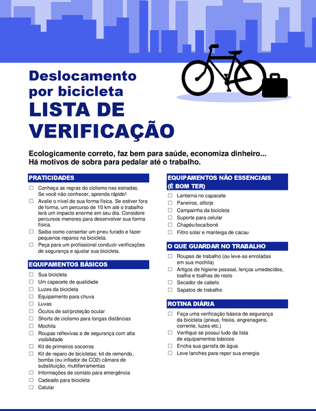 Lista de verificação de deslocamento de bicicleta