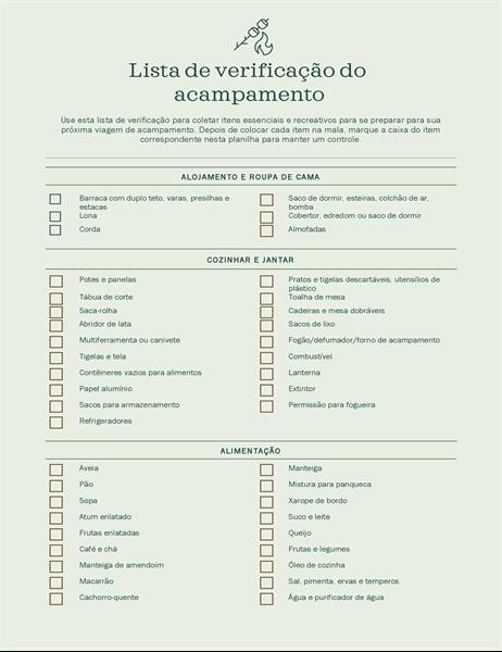 Lista de verificação de acampamento
