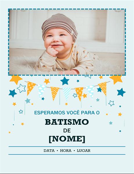 Folheto de batismo com foto