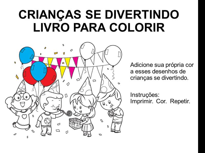 Livro para colorir de crianças se divertindo