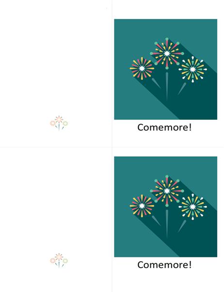 Cartão de comemoração com fogos de artifício