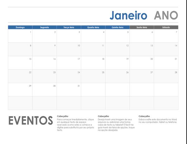 Calendário horizontal (segunda-feira)