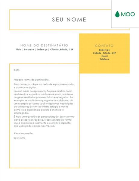 Carta de apresentação simples e direta, elaborada pela MOO