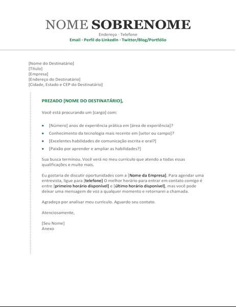 Carta de apresentação de currículo (cronológico)