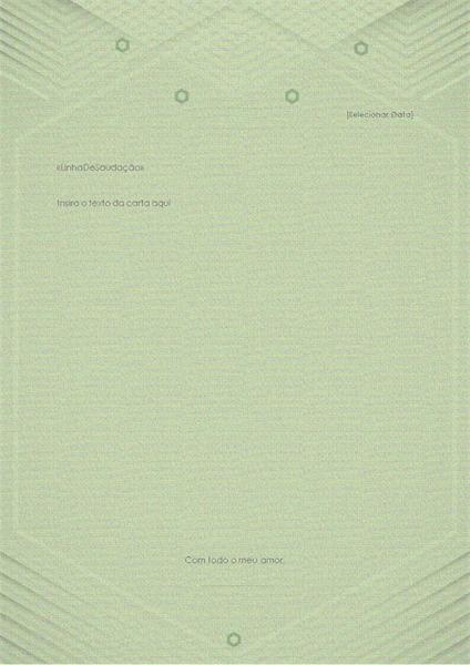Modelo para cartas pessoais (design elegante em verde-acinzentado)