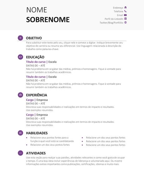 Currículo de escolar (Design moderno)