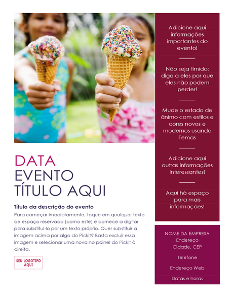 Folleto de eventos con complemento Pickit