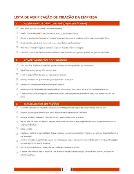 Lista de verificação de inicialização de negócios