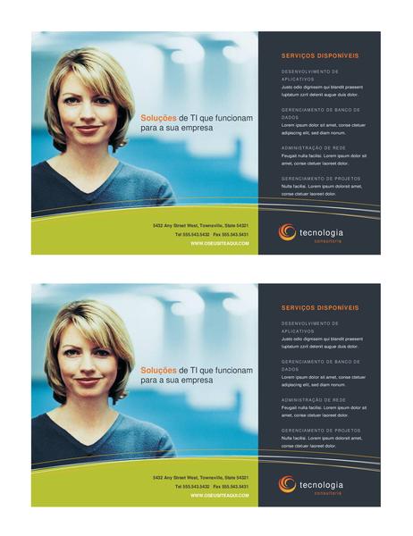 Panfleto para empresas de tecnologia (meia página, 2 por página)
