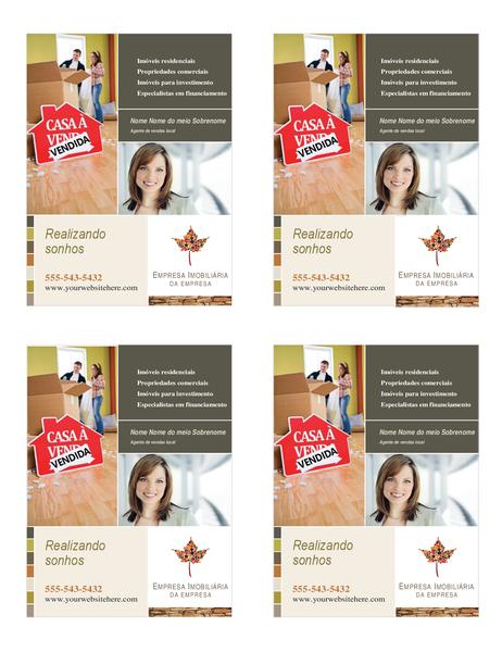 Panfleto de empresas imobiliárias (um quarto de página, 4 por página)