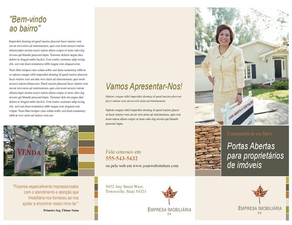 Folheto de imobiliárias (três dobras)