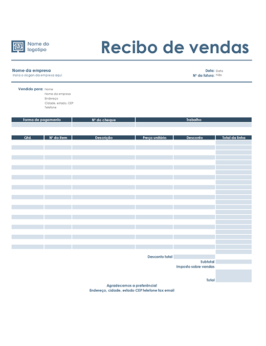 Recibo de vendas (design Azul Simples)
